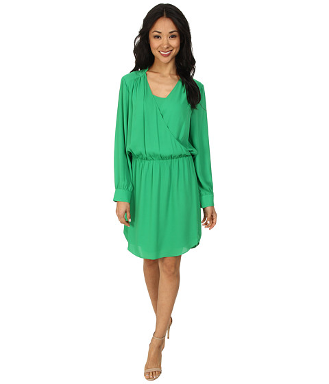 Vince Camuto - Long Sleeve Wrap Front Dress (Lush Green) Women