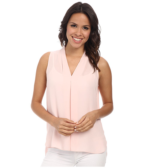 Vince Camuto - Sleeveless V-Neck Blouse w/ Inverted Front Pleat (Taffy Pink) Women
