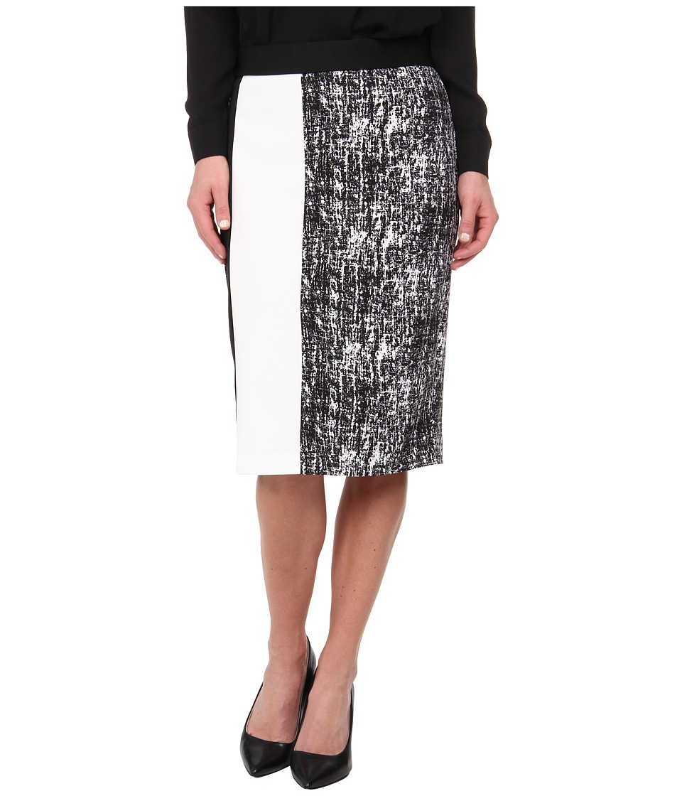 Vince Camuto - Texture Etching Pencil Skirt w/ White Trim (Rich Black) Women's Skirt
