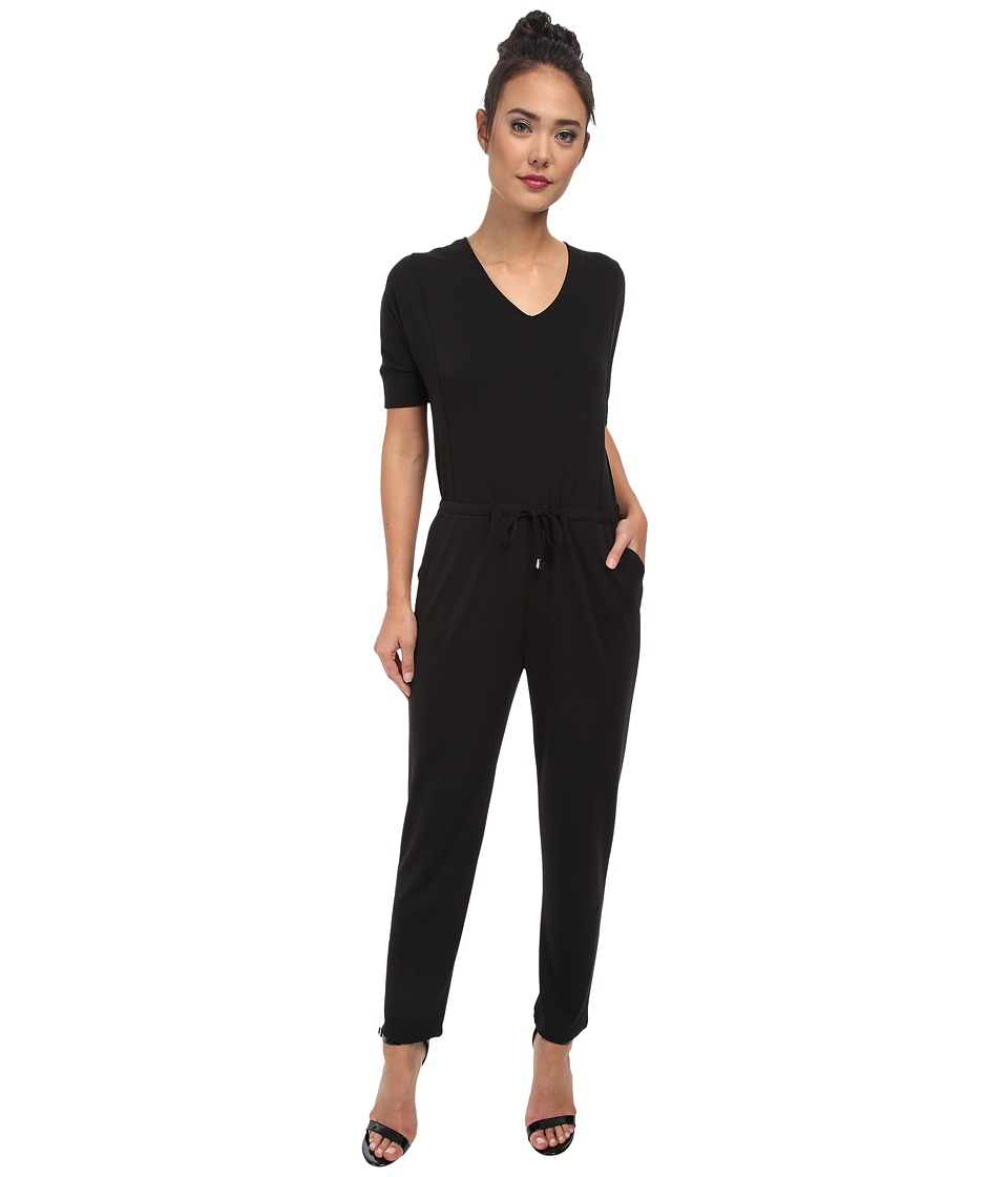 Vince Camuto - 3/4 Sleeve V-Neck Jumpsuit w/ Drawstring (Rich Black) Women
