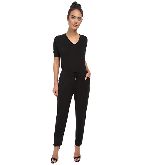Vince Camuto - 3/4 Sleeve V-Neck Jumpsuit w/ Drawstring (Rich Black) Women's Jumpsuit & Rompers One Piece