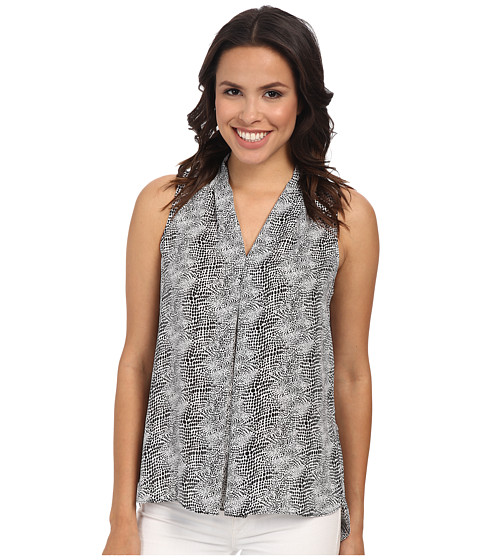 Vince Camuto - Sleeveless Starlight Dots V-Neck Blouse w/ Front Pleat (Ultra White) Women
