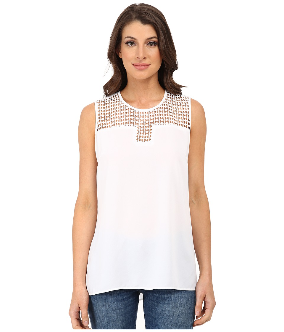 Vince Camuto - Sleeveless Blouse w/ Embroidered Cotton Lace Yoke (Ultra White) Women