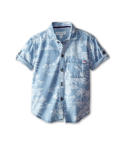 Appaman Kids - Button Down Hawaiian Print Shirt (Toddler/Little Kids/Big Kids) (Chambray 2) Boy's Clothing