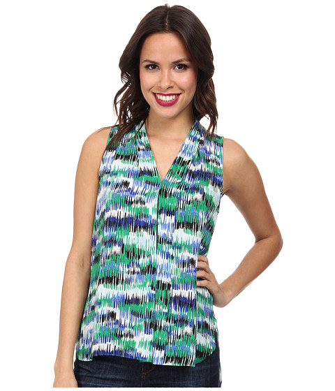 Vince Camuto - Sleeveless Art Sketches V-Neck Blouse w/ Front Pleat (Lush Green) Women