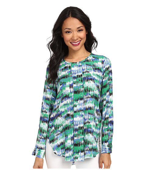 Vince Camuto - Long Sleeve Art Sketches Center Pleat Blouse (Lush Green) Women