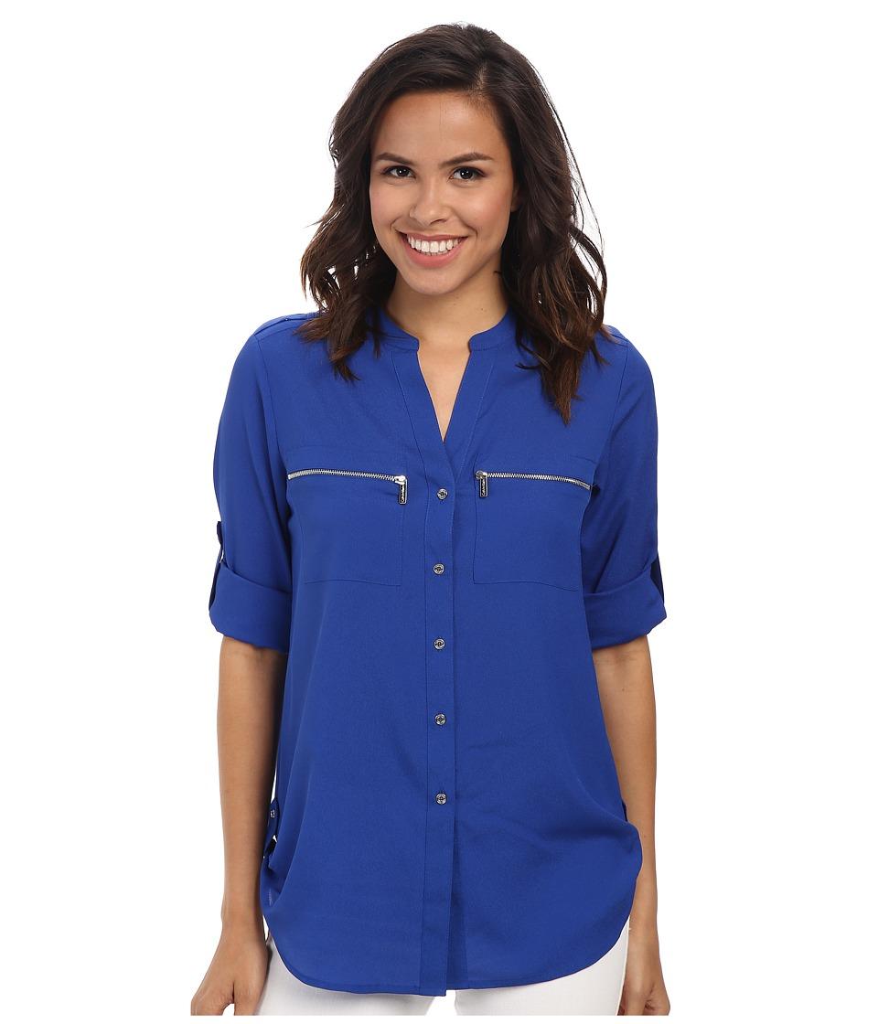 Calvin Klein - Zipper Roll Poly CDC Sleeve (Regatta) Women's Blouse