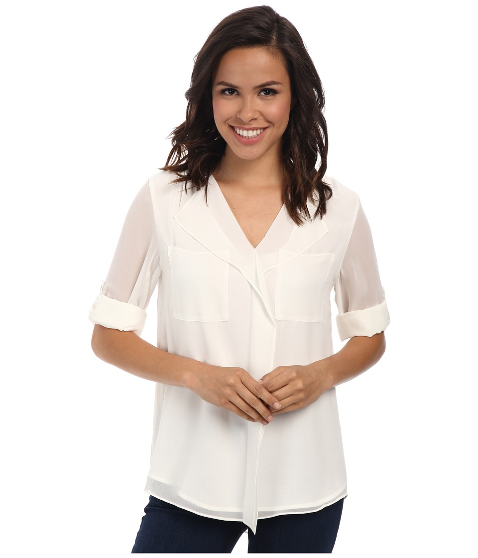 Calvin Klein - Long Sleeve Ruffle Front Top (Soft White) Women's Blouse