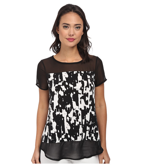 Vince Camuto - Short Sleeve Graphic Moods Top w/ Chiffon Sleeve/Hem (Rich Black) Women