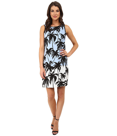 Vince Camuto - Sleeveless Palm Horizon Border Shift Dress (Ultra White) Women
