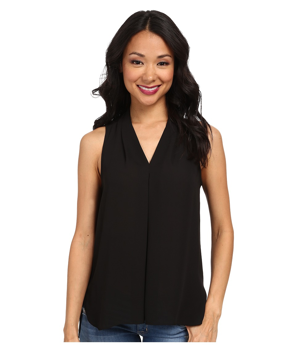Vince Camuto - Sleeveless V-Neck Blouse w/ Inverted Front Pleat (Rich Black) Women's Blouse