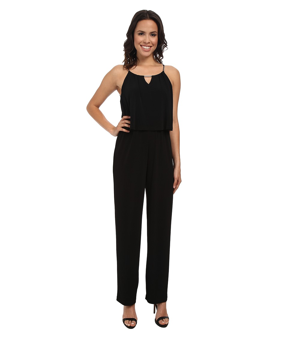 Calvin Klein - Solid Double Layer Jumpsuit w/ Hardware (Black) Women