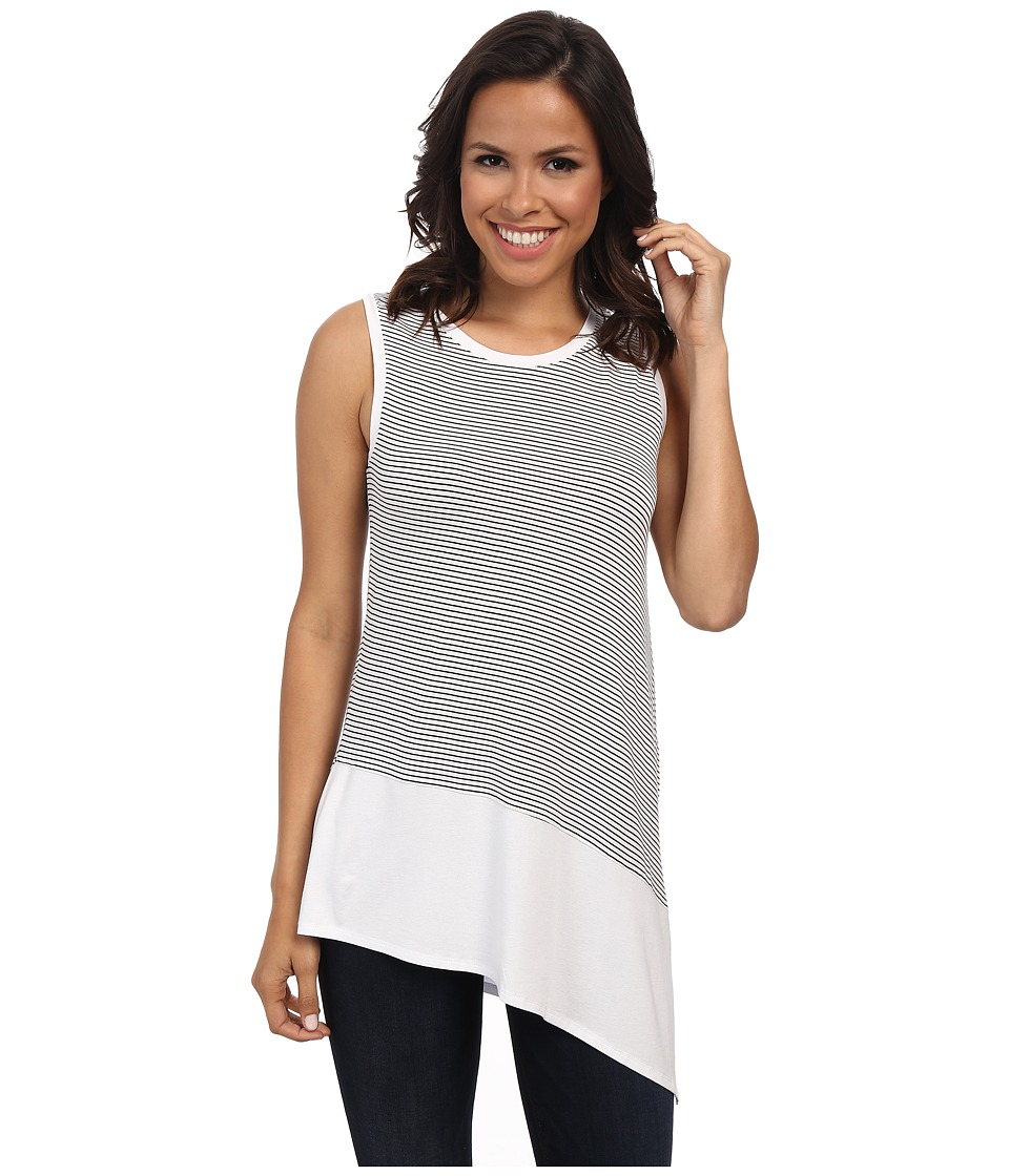 Vince Camuto - Sleeveless Tiny Stripe Top w/ Chiffon Asym Hem (Ultra White) Women