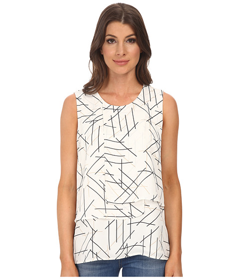 Vince Camuto - Sleeveless Overlay Twigs Layered Blouse (New Ivory) Women's Blouse