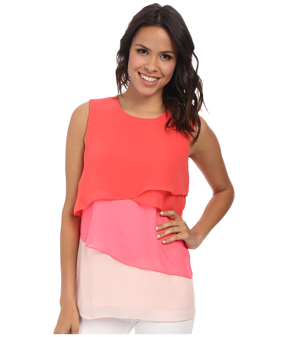 Vince Camuto - Sleeveless Color Block Layered Blouse (Pomegranates) Women's Blouse