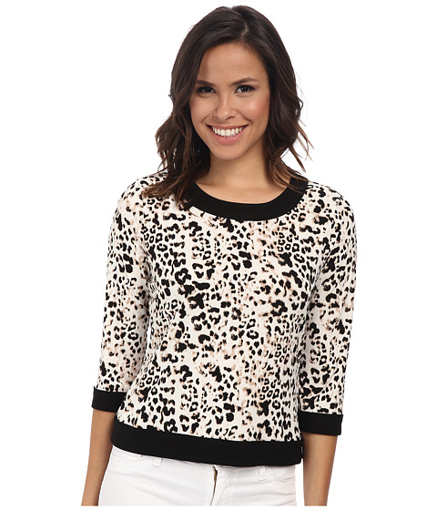 Vince Camuto - 3/4 Sleeve Leopard Crew Neck Top w/ Solid Trim (Sesame) Women