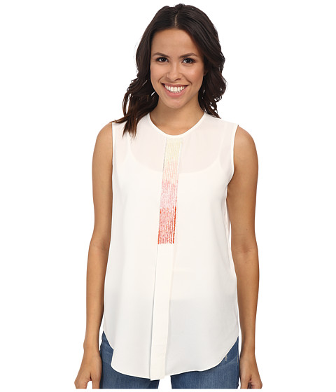 Vince Camuto - Sleeveless Crew Neck Embelished Top (New Ivory) Women's Sleeveless