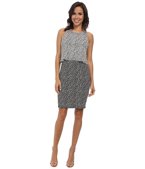 Vince Camuto - Sleeveless Color Block Dotted Dabs Layered Dress (Rich Black) Women