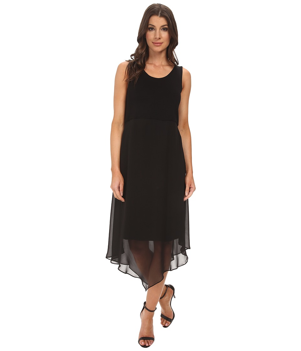 Vince Camuto - Sleeveless Dress w/ Asymmetrical Chiffon Overlay Skirt (Rich Black) Women's Dress