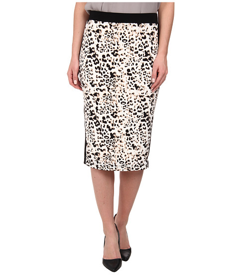 Vince Camuto - Leopard Pencil Skirt w/ Solid Trim (Sesame) Women's Skirt