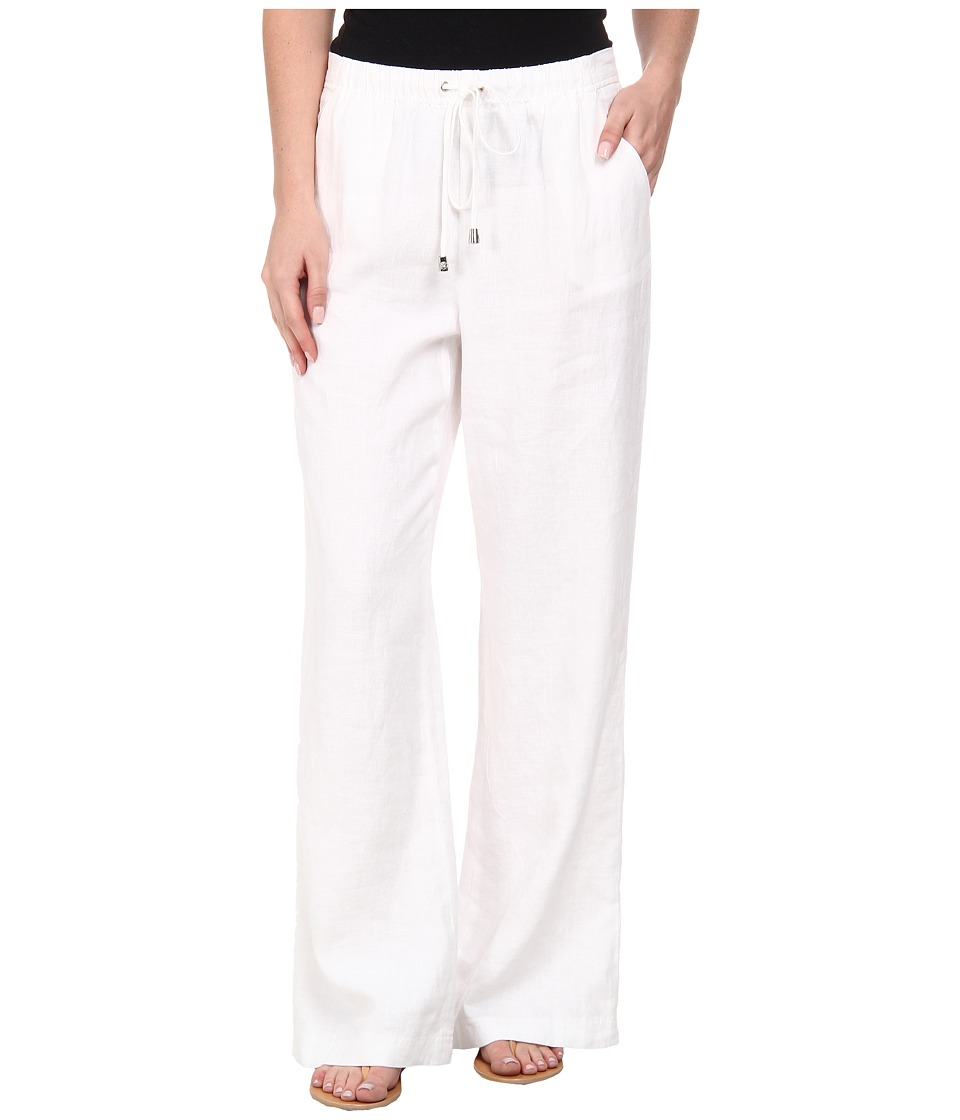 Vince Camuto - Wide Leg Linen Pants w/ Drawstring Waist (Ultra White) Women's Casual Pants