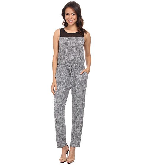 Vince Camuto - Sleeveless Scale Imprint Jumpsuit (Rich Black) Women's Jumpsuit & Rompers One Piece