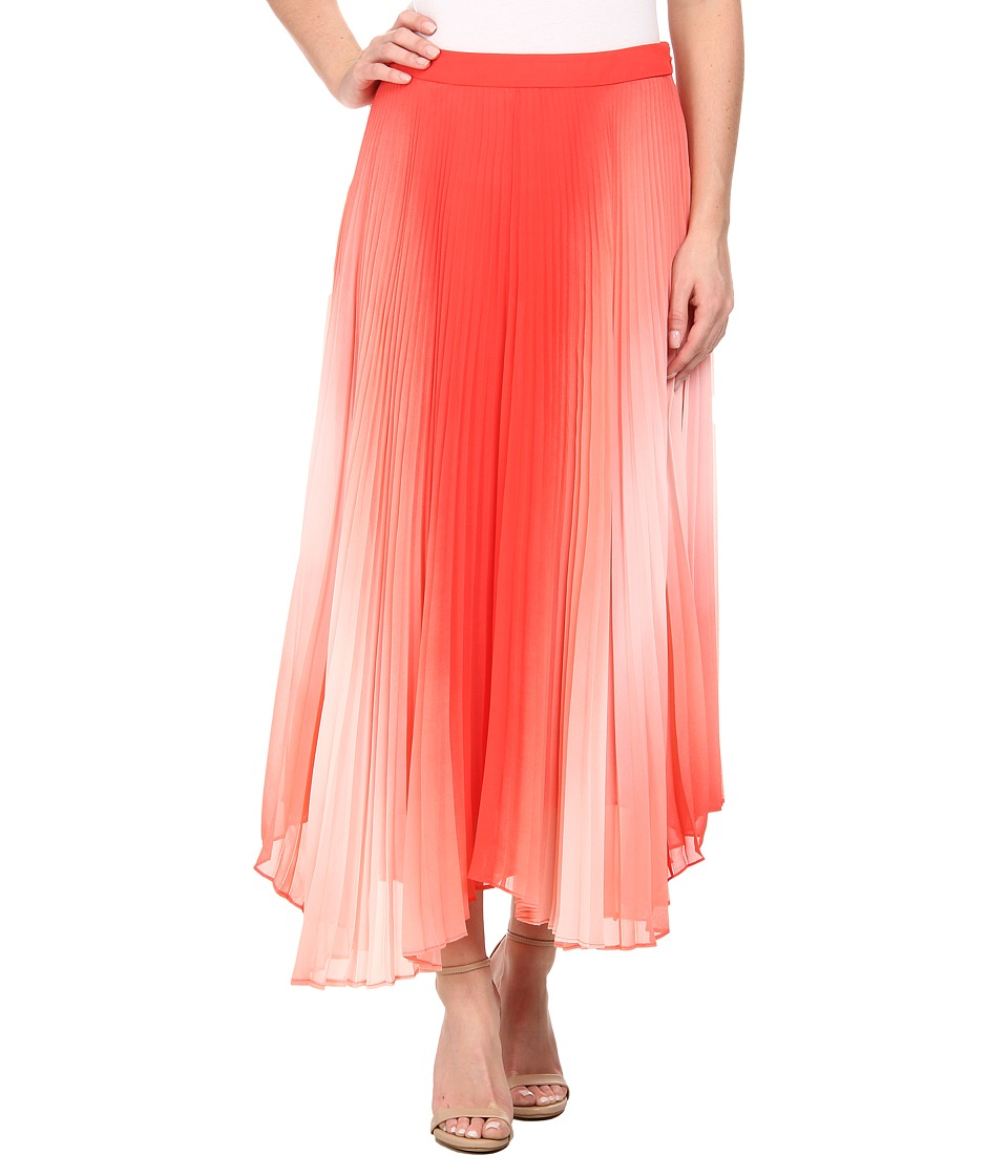 Vince Camuto - Asymmetrical Hem Pleated Midi Skirt (Pomegranates) Women