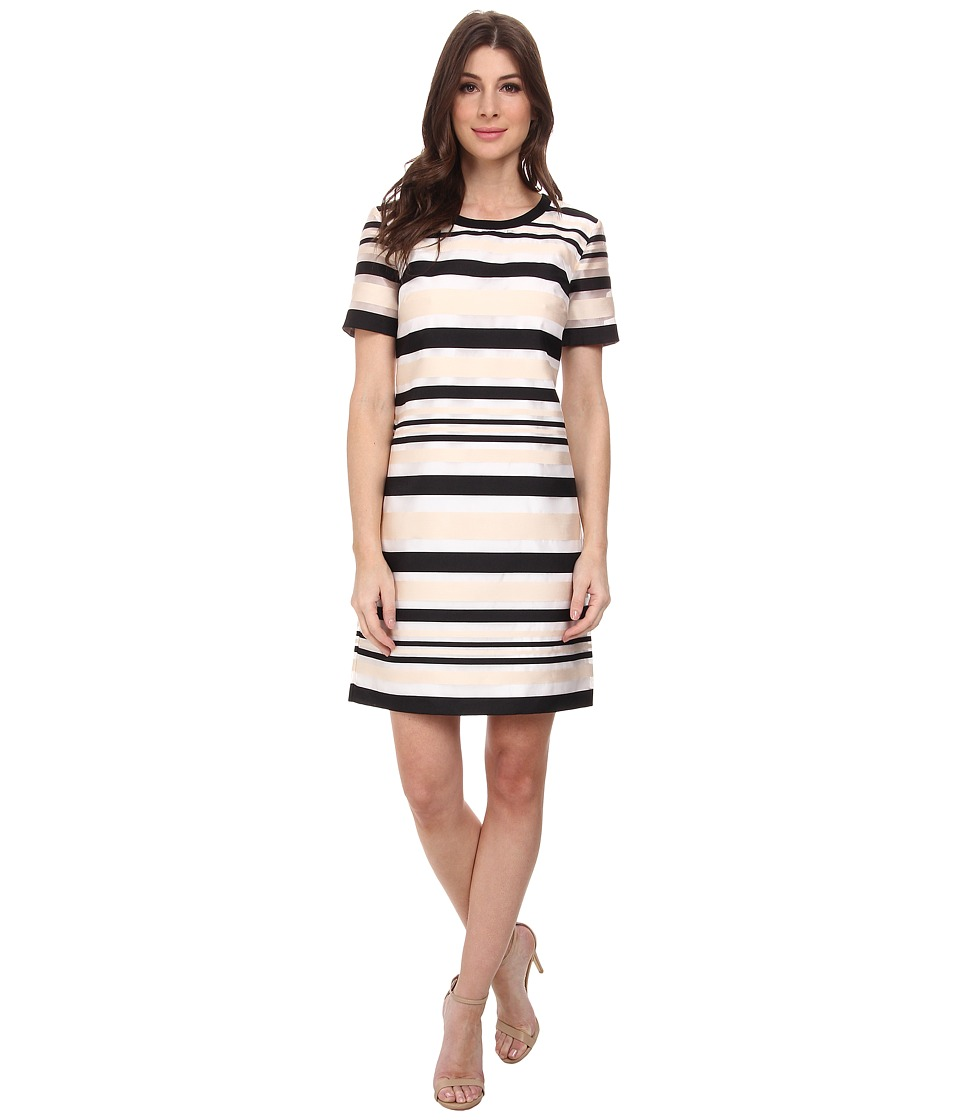 Vince Camuto - Short Sleeve Organza Stripe Shift Dress (New Ivory) Women's Dress