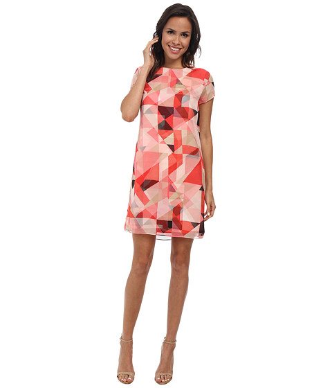 Vince Camuto - Cap Sleeve Sorbet Squares Shift Dress (Taffy Pink) Women's Dress