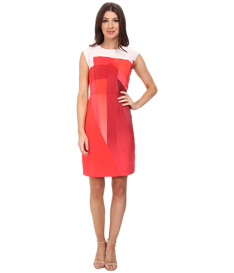 Vince Camuto - Cap Sleeve Ombre Edge Border Dress (Pomegranates) Women's Dress