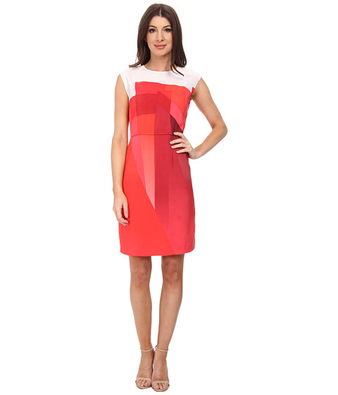 Vince Camuto - Cap Sleeve Ombre Edge Border Dress (Pomegranates) Women