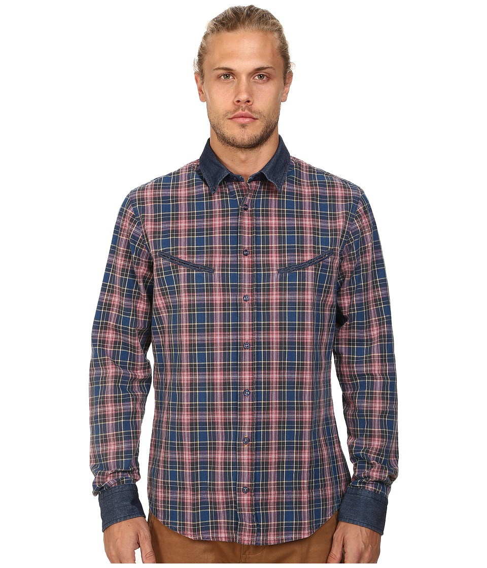 BOSS Orange - Epunke Indigo Check Slim Fit Long Sleeve Button Up Shirt w/ Round Shaped Welt Pockets (Medium Blue) Men's Long Sleeve Button Up