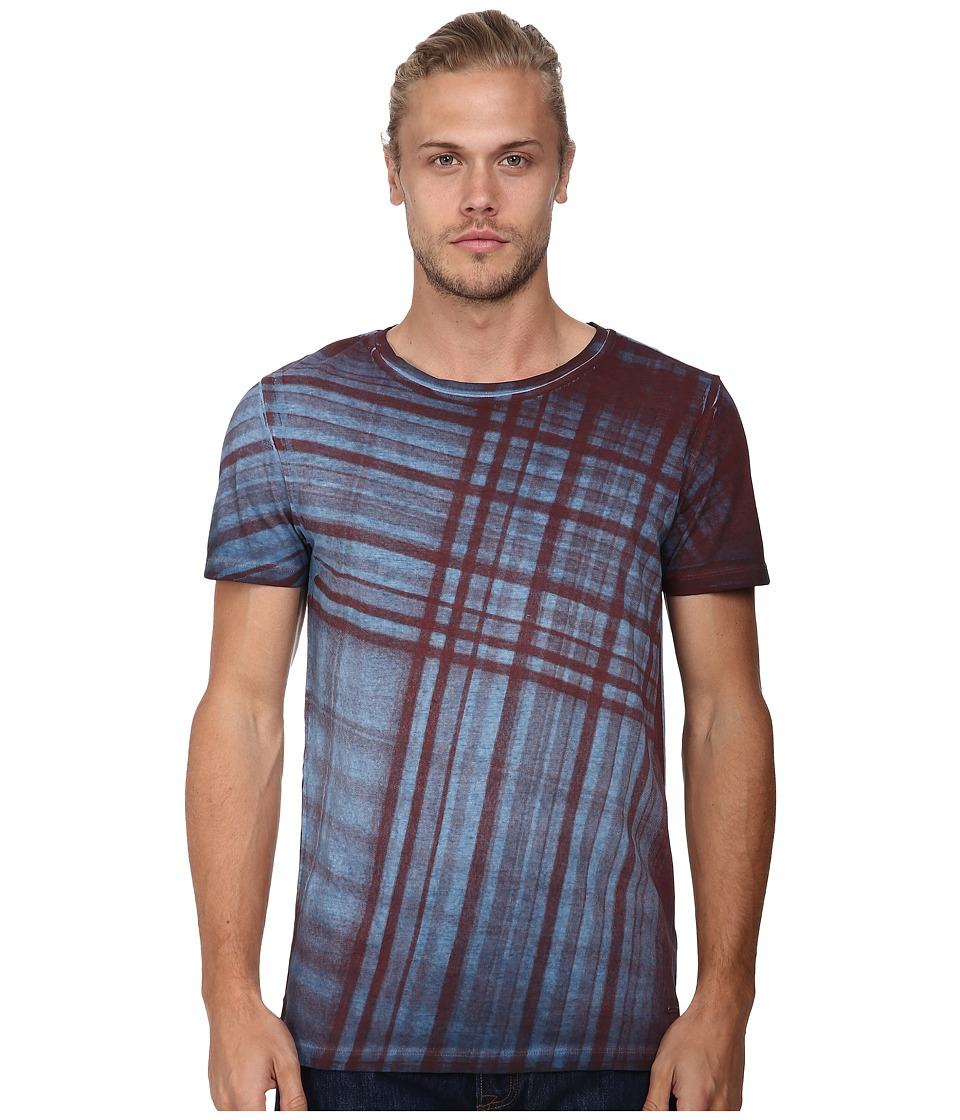 BOSS Orange - Tobit Luna Wash Check Short Sleeve Graphic Tee (Dark Blue) Men