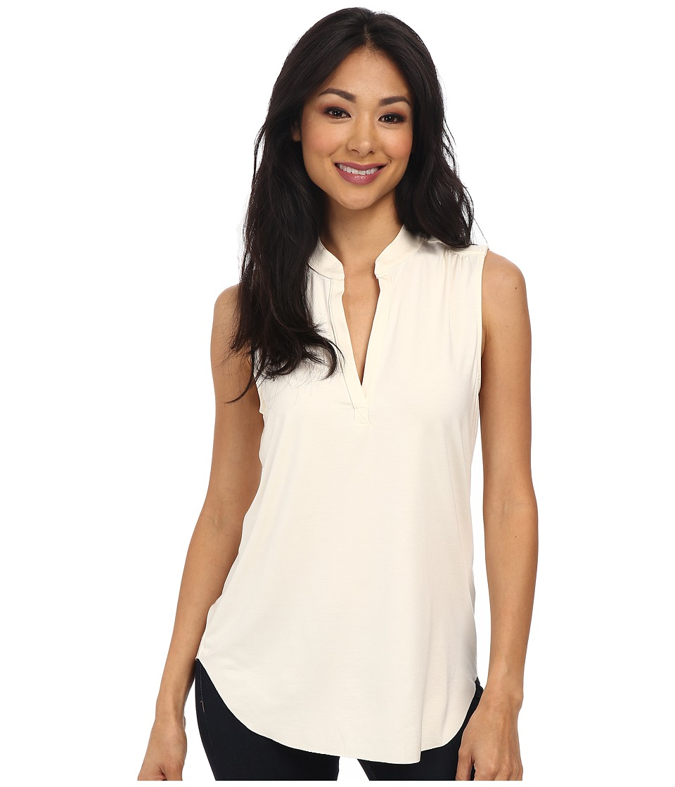 Three Dots - Sleeveless V-Neck Top (Gardenia) Women's Sleeveless