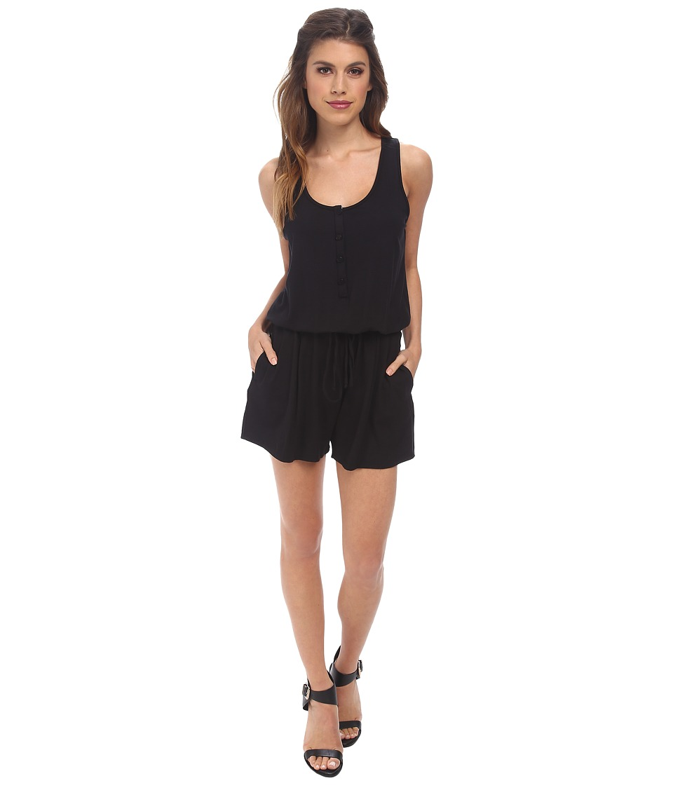 Three Dots - Romper w/ Placket Detail (Black) Women