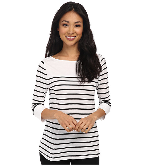 Three Dots - 3/4 Sleeve Top w/ Contrast (White) Women's Short Sleeve Pullover