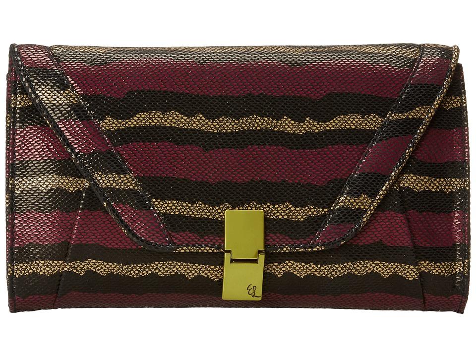 Elliott Lucca - Cordoba Flip Lock Clutch (Orchid Stripe) Clutch Handbags