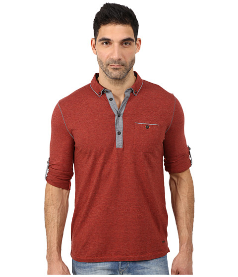 BOSS Orange - Patcherman 1 Jersey Denim Mix Long Sleeve Polo w/ 1-Pocket and Adjustable Sleeves (Bright Red) Men's Long Sleeve Pullover