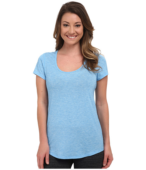 Lucy - S/S Workout Tee (Bright Blue Heather) Women's Workout