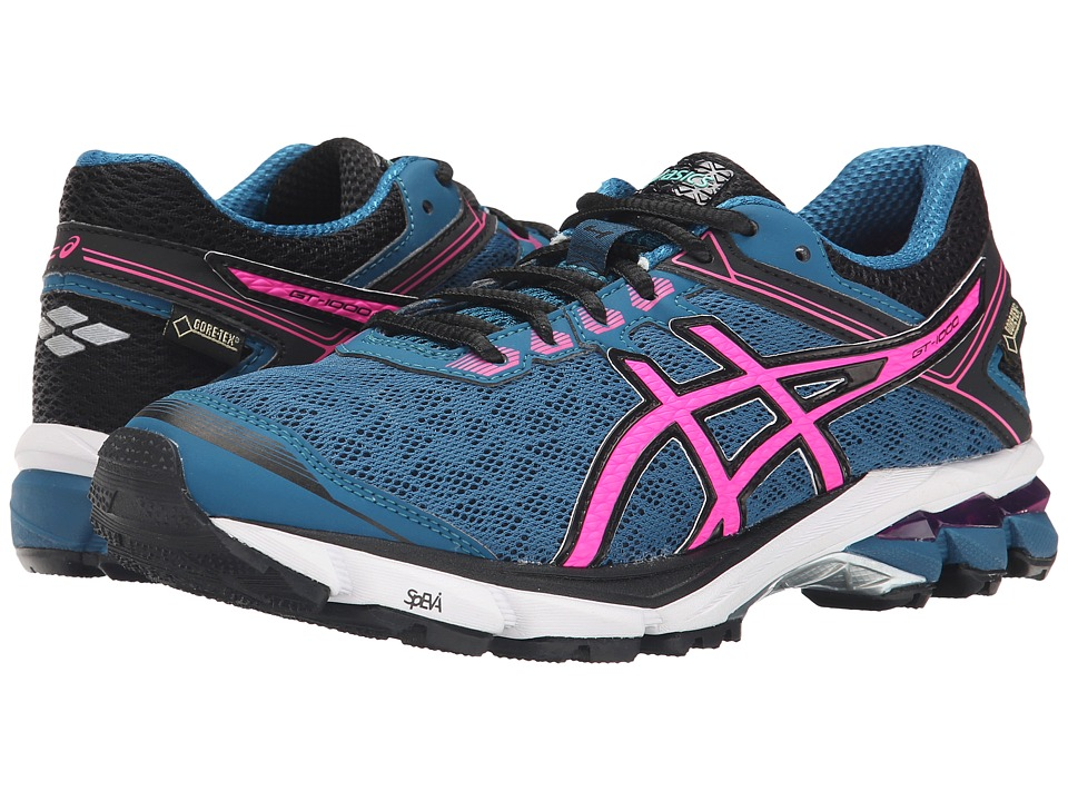 ASICS - GT-1000 4 GTX(r) (Mosaic Blue/Hot Pink/Black) Women's Running Shoes