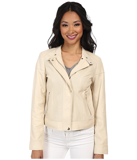 Cole Haan - 21 1/2 Moto Jacket w/ Perf Panels (Ivory) Women
