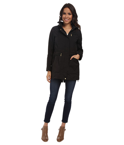 Cole Haan - 34 Single Breasted Rain Jacket (Black) Women's Coat