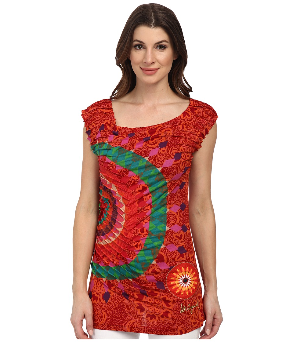 Desigual - Arashi Beach Knitted Sleeveless T-Shirt (Burgundy) Women