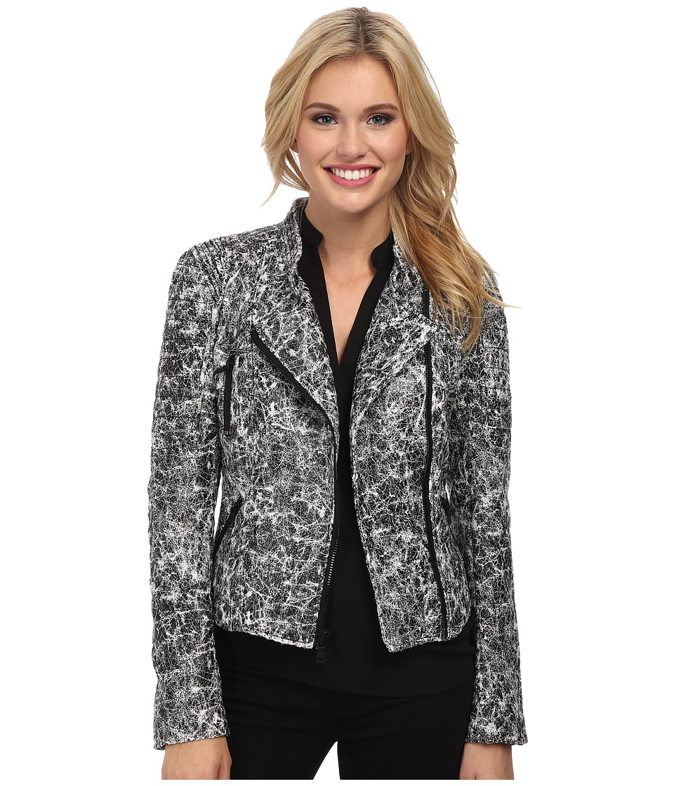 Sam Edelman - Crackle Moto Jacket (Black/White) Women's Coat