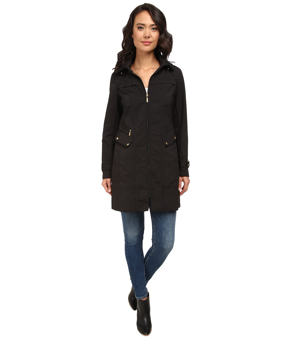 Cole Haan - 34 Single Breasted Hooded Raincoat (Black) Women