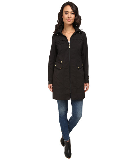 Cole Haan - 34 Single Breasted Hooded Raincoat (Black) Women's Coat