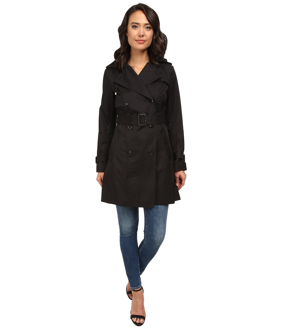 Cole Haan - 35 1/2 Double Breasted Hooded Trench (Black) Women's Coat