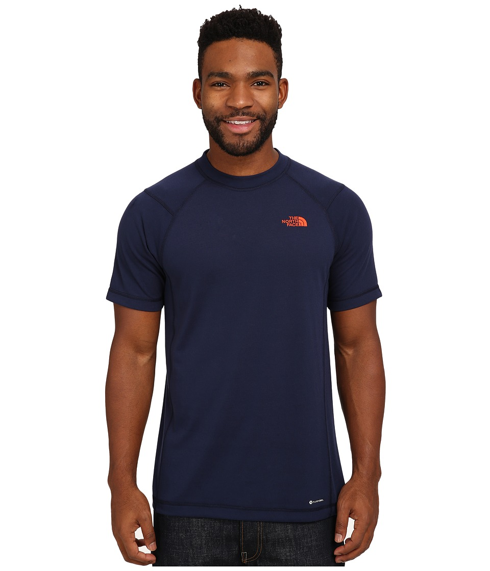 The North Face - Short Sleeve RDT Crew Tee (Cosmic Blue/Acrylic Orange) Men's T Shirt