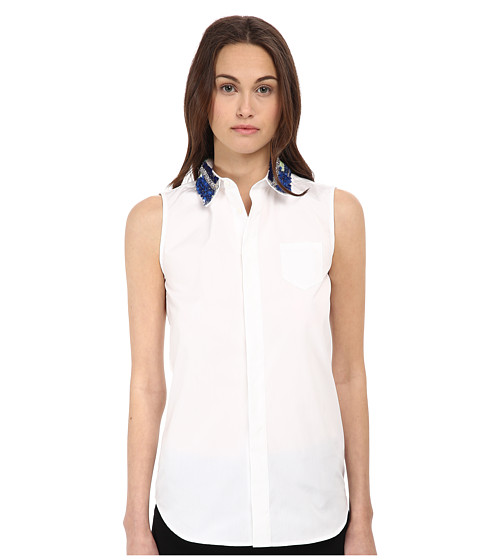 DSQUARED2 - Elinor Sleeveless Boxy Shirt (White/Grey) Women