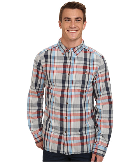 The North Face - Long Sleeve Buttonwood Shirt (High Rise Grey Heather/Acrylic Orange) Men's Long Sleeve Button Up
